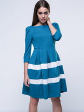 Casual Color Block Striped Skater Dress