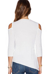 Open Shoulder Asymmetric Hem Shirt