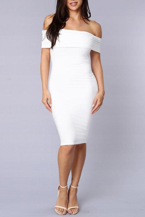 Off Shoulder Plain Fitted Bodycon Dress