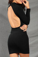 High Neck Backless Plain Bodycon Dress