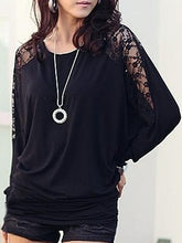 Round Neck Cotton Lace Plain Long-Sleeve-T-Shirt