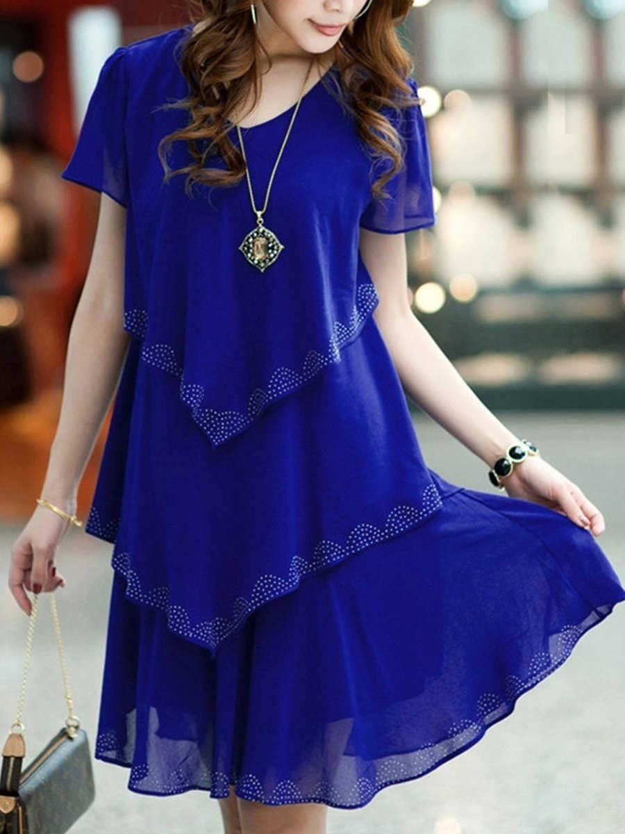 Multi-Layers Rhinestone Designed V Neck Chiffon Shift Dress