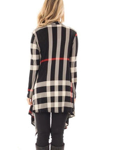 Asymmetric Hem  Colouring  Long Sleeve Cardigans