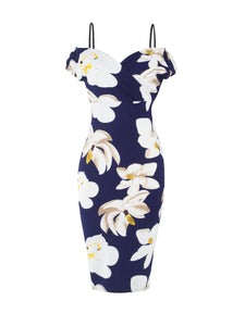 Open Shoulder  Floral Printed  Bodycon Dresses