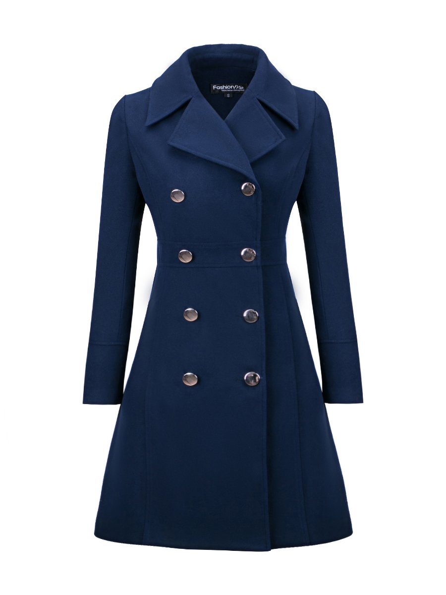 Lapel Double Breasted Plain Woolen Coats
