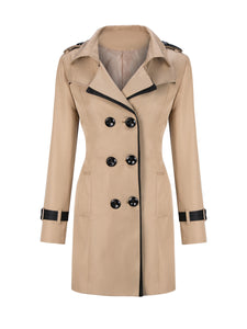 Lapel  Contrast Trim Double Breasted Trench Coats