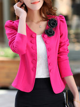 Delicate Bowknot Decorative Button Puff Sleeve Blazer