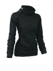 Designed Plain High Neck  Kangaroo Pocket Single Breasted Sweatshirt
