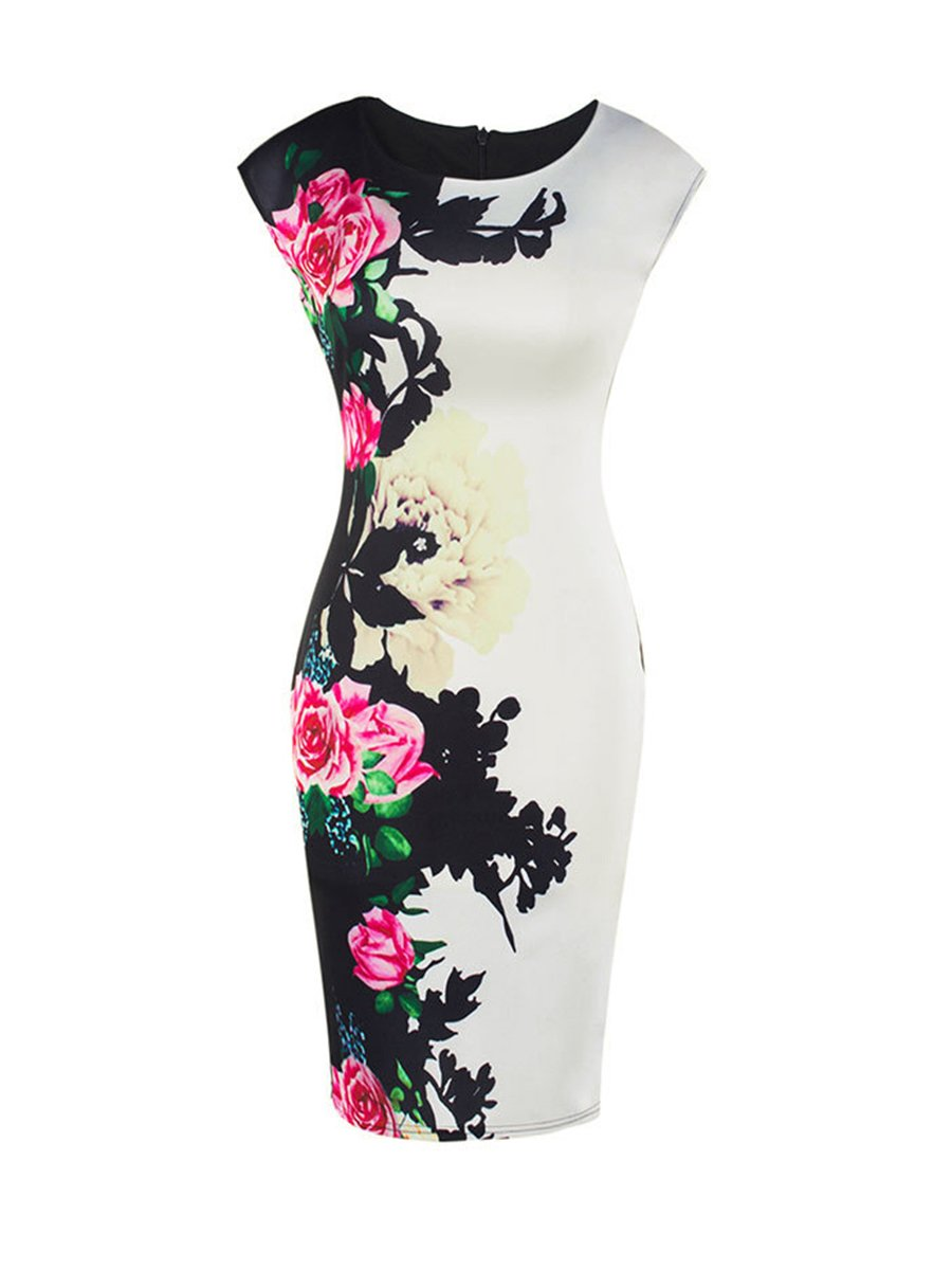 Elegant Floral Printed Round Neck Bodycon Dress
