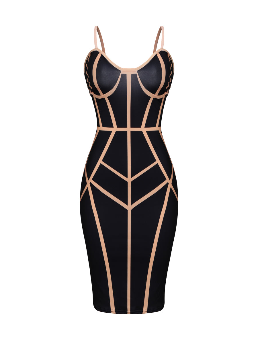 Sexy Spaghetti Strap  Contrast Trim Bodycon Dress