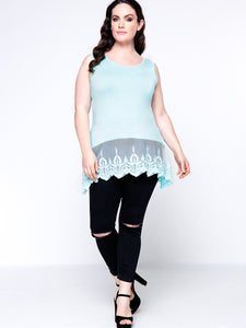 Lovely Basic Patchwork  Hollow Out Plain Plus Size T-Shirt