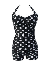 Black White Polka Dot Backless  Halter  Plus Size One Piece
