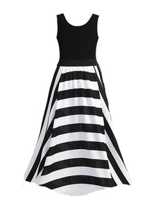 Black White Round Neck Striped Plus Size Maxi Dress