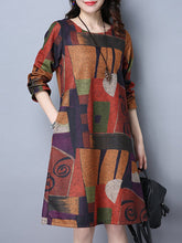 Casual Color Block Printed Round Neck Shift Dress