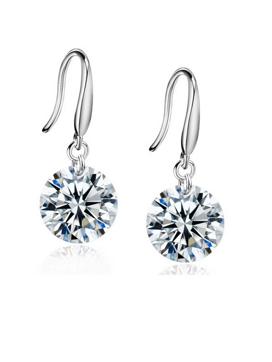 Pair Of Alloy Rhinestone Drop Earrings