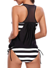 Scoop Neck  Patchwork Racerback  Striped Swimwear