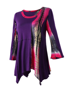 Asymmetric Hem  Tie/Dye  Plus Size T-Shirt With Bell Sleeve