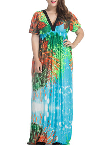 Empire Deep V-Neck  Printed Plus Size  Maxi Dress