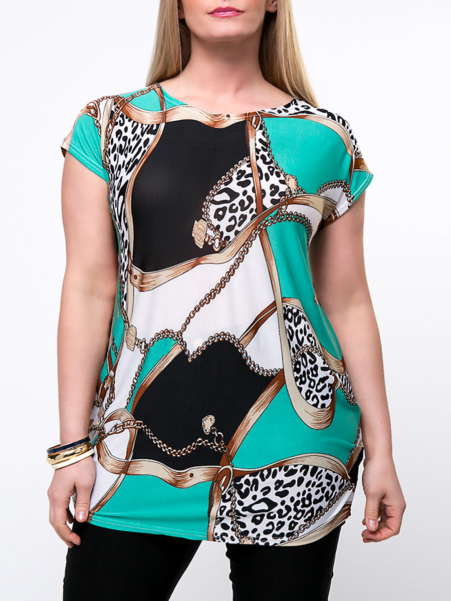 Color Block Leopard Round Neck Plus Size T-Shirt
