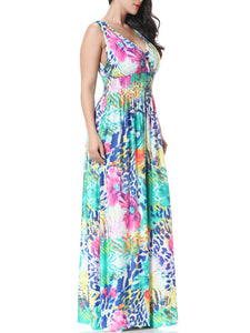 Delightful Floral Printed  Deep V-Neck  Empire Plus Size Maxi Dresses