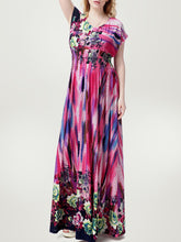 Delightful V-Neck  Plus Size  Maxi Dress In Floral Polka Dot Printed