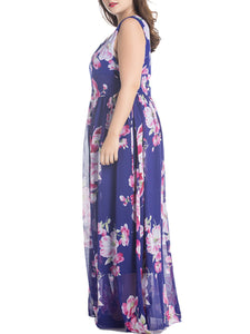 Delightful Round Neck Chiffon Plus Size Maxi Dress In Floral Printed
