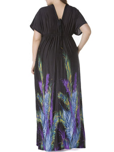Dramatic Deep V-Neck Printed Plus Size Maxi Dress