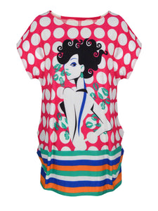 Cartoon Polka Dot Striped Printed Plus Size T-Shirt