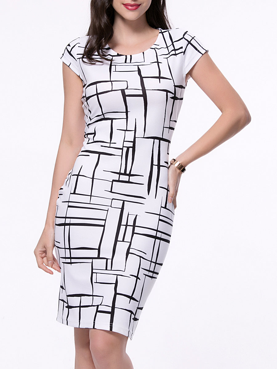 Trendy Modern Printed Round Neck Bodycon Dress