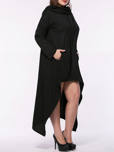Hooded Asymmetric Hem Kangaroo Pocket Plain Plus Size Maxi Dress