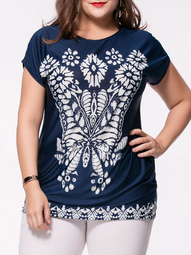 Fabulous Printed Round Neck Plus Size T-Shirt