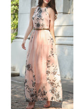 Summer Floral Printed Chiffon Maxi Dress