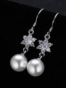 Floral Shape Rhinestone Pearl Pendant Earrings