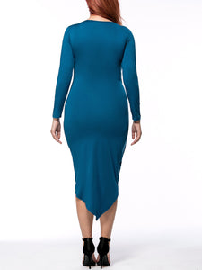 Ruched Asymmetric Hem Solid Round Neck Plus Size Bodycon Dress
