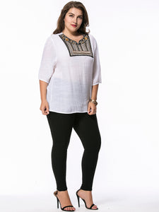 Round Neck Beading Embroidery Patch Plus Size T-Shirt