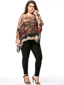 Asymmetric Hem  Printed Round Neck  Chiffon Plus Size Blouse