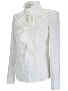 Band Collar  Cascading Ruffles Plain Blouse