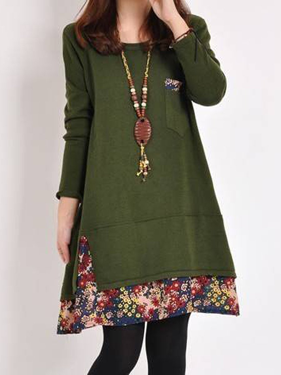 Casual Round Neck Floral Printed Shift Dress