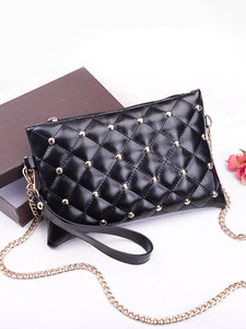 Gold Rivets Quilted Two Ways Crossbody Bag