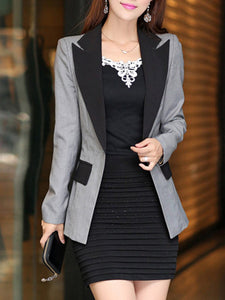 Notch Lapel Single Button Color Block Blazer