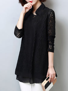 Polo Collar Hollow Out Plain Blouse With Long Sleefe