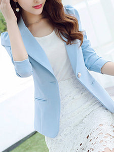 Graceful Solid Notch Lapel  Single Button Blazer