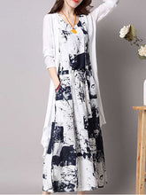 Casual Drawstring Printed Two-Piece Maxi Dress