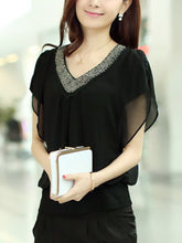 Beading  Color Block Blouses