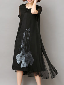 Summer Asymmetric Hem Hollow Out Printed Shift Dress