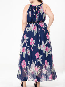 Round Neck Floral Hollow Out Chiffon Plus Size Maxi Dress