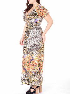 Floral Leopard Empire Deep V-Neck Plus Size Maxi Dress