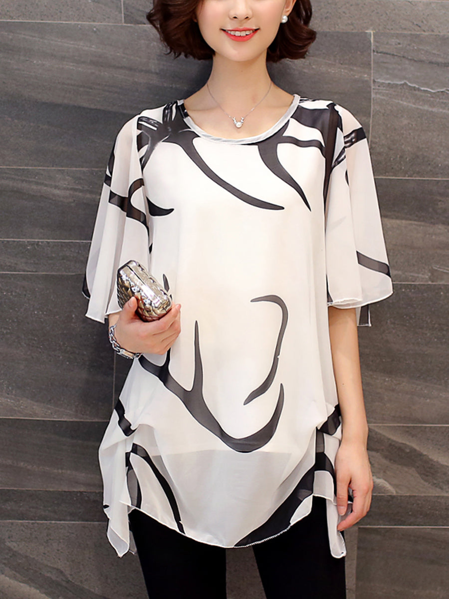 Round Neck  Hollow Out Printed  Cape Sleeve Blouse