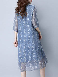 Captivating Hollow Out Printed Round Neck Midi Shift Dress