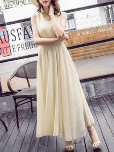 Summer V-Neck Plain Chiffon Maxi Dress